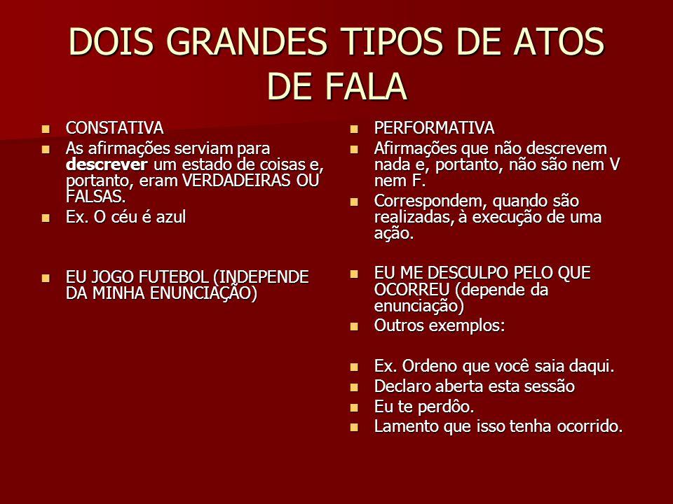 DOIS GRANDES TIPOS DE ATOS DE FALA