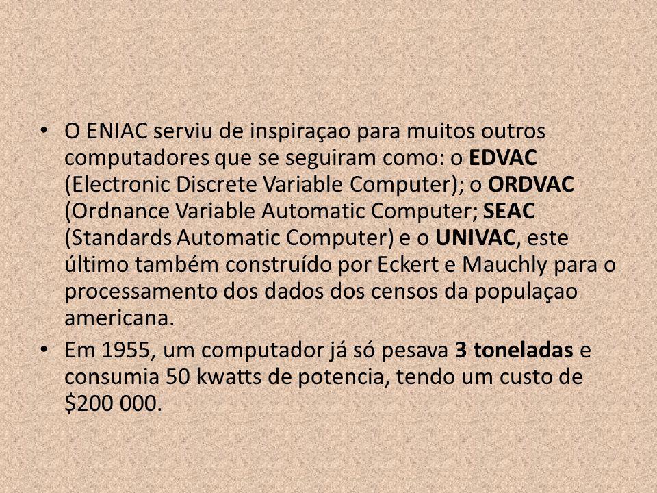 O ENIAC serviu de inspiraçao para muitos outros computadores que se seguiram como: o EDVAC (Electronic Discrete Variable Computer); o ORDVAC (Ordnance Variable Automatic Computer; SEAC (Standards Automatic Computer) e o UNIVAC, este último também construído por Eckert e Mauchly para o processamento dos dados dos censos da populaçao americana.
