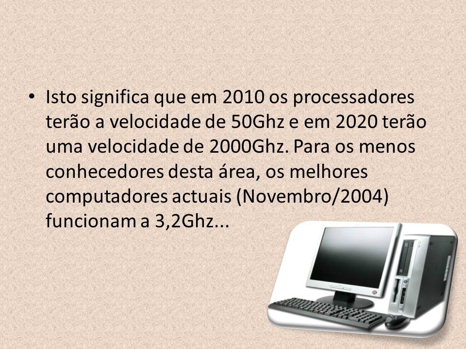 Isto significa que em 2010 os processadores terão a velocidade de 50Ghz e em 2020 terão uma velocidade de 2000Ghz.