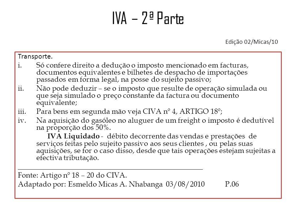 IVA – 2ª Parte Edição 02/Micas/10