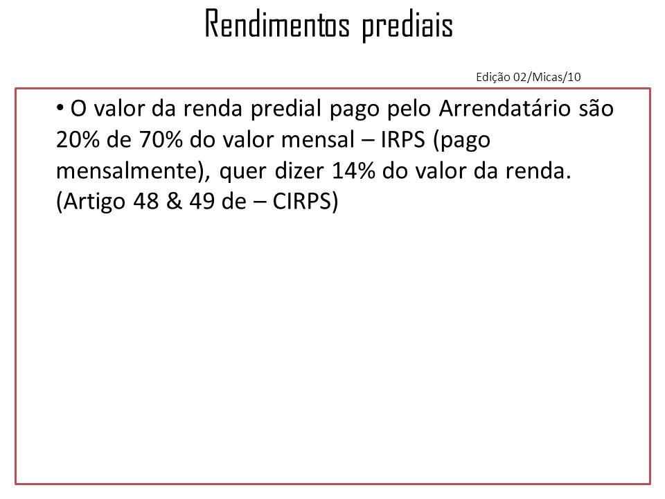 Rendimentos prediais Edição 02/Micas/10