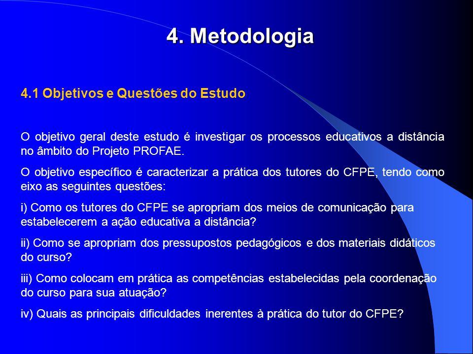 4. Metodologia 4.1 Objetivos e Questões do Estudo