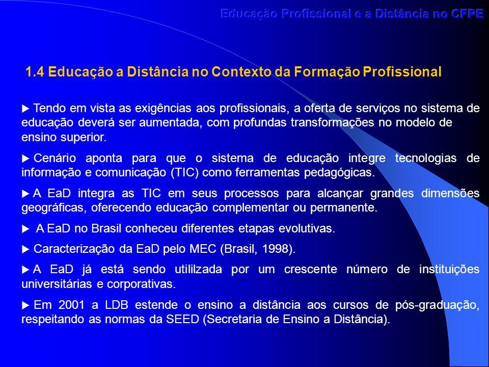 1.4 Educação a Distância no Contexto da Formação Profissional