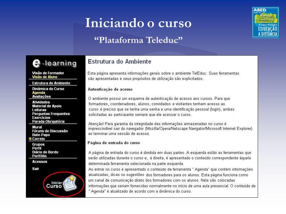Iniciando o curso Plataforma Teleduc