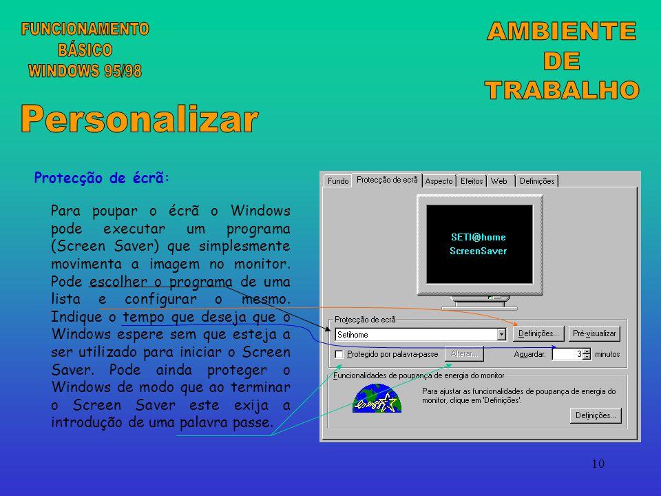 FUNCIONAMENTO BÁSICO WINDOWS 95/98 AMBIENTE DE TRABALHO Personalizar