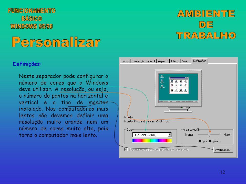 FUNCIONAMENTO AMBIENTE BÁSICO DE WINDOWS 95/98 TRABALHO Personalizar