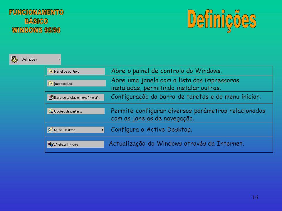 FUNCIONAMENTO BÁSICO WINDOWS 95/98 Definições