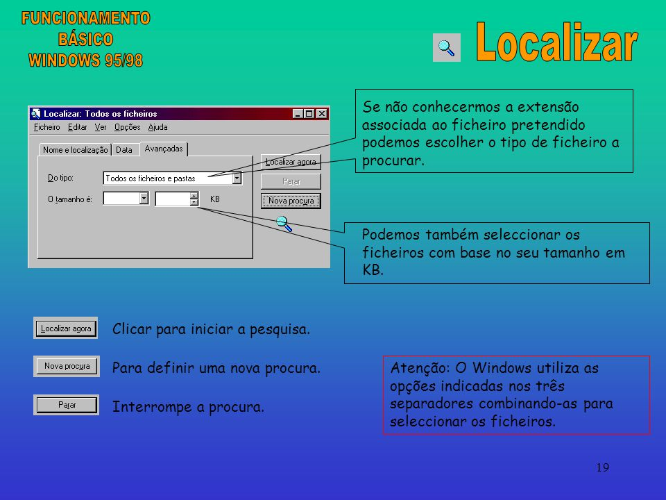 FUNCIONAMENTO Localizar BÁSICO WINDOWS 95/98