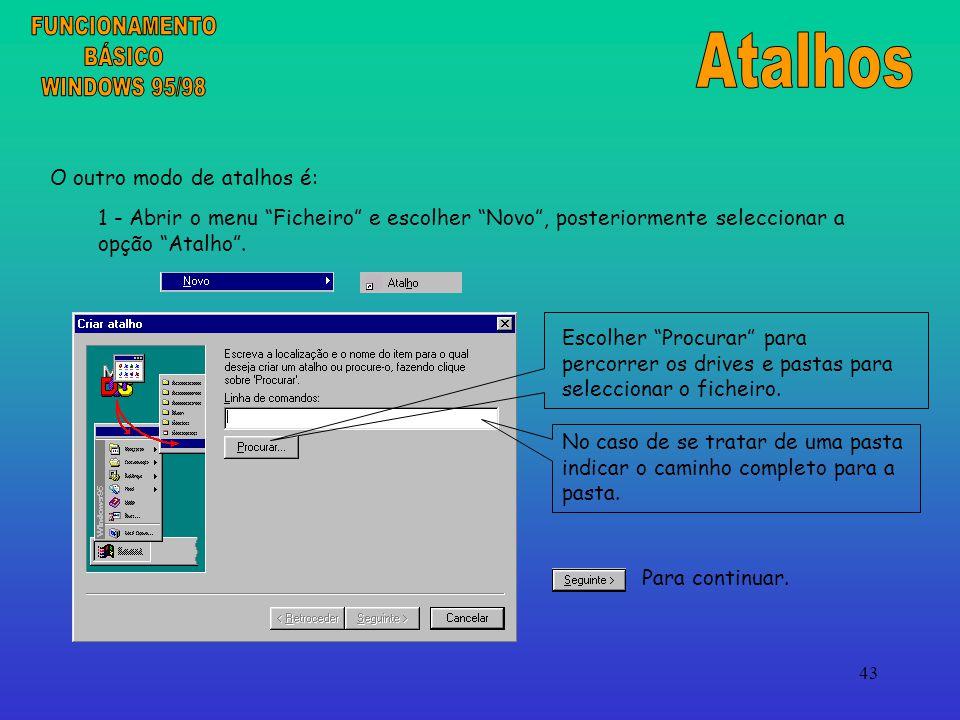 FUNCIONAMENTO Atalhos BÁSICO WINDOWS 95/98 O outro modo de atalhos é: