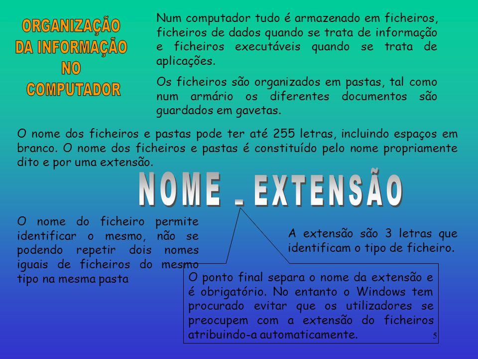 ORGANIZAÇÃO DA INFORMAÇÃO NO COMPUTADOR EXTENSÃO NOME .