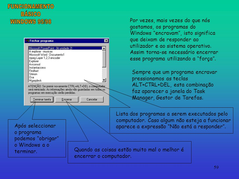 FUNCIONAMENTO BÁSICO WINDOWS 95/98
