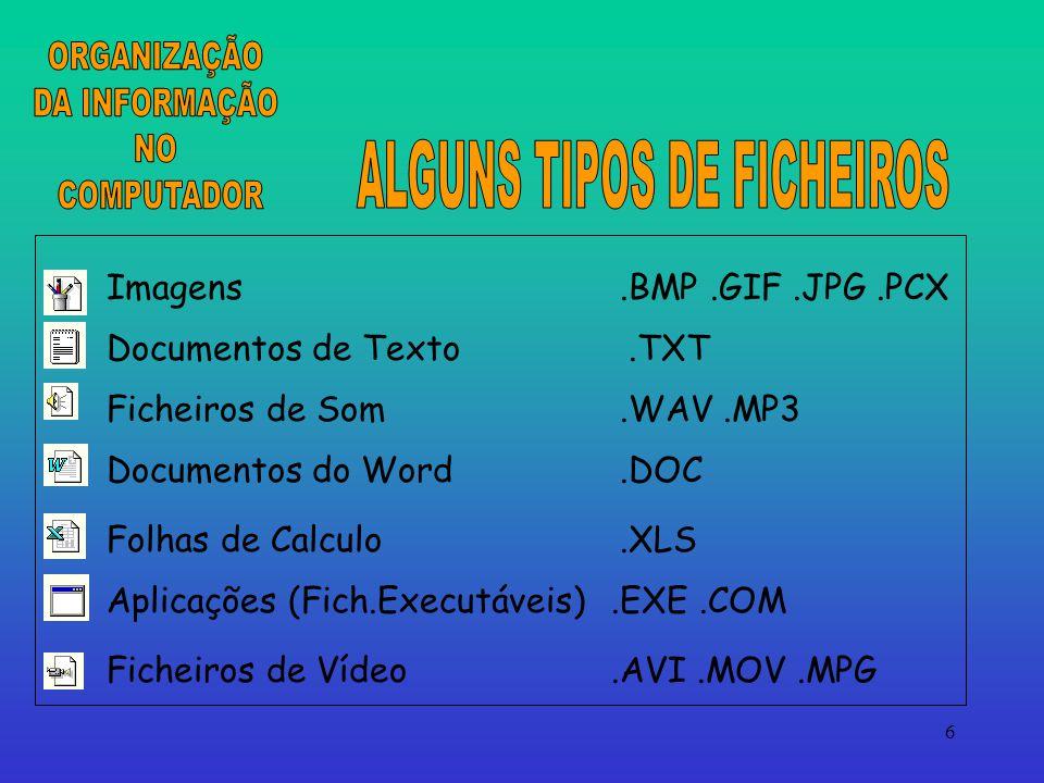 ALGUNS TIPOS DE FICHEIROS