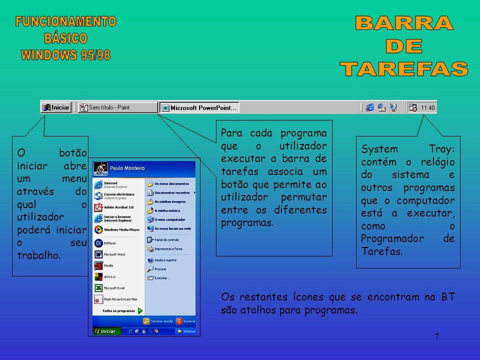 FUNCIONAMENTO BÁSICO WINDOWS 95/98 BARRA DE TAREFAS