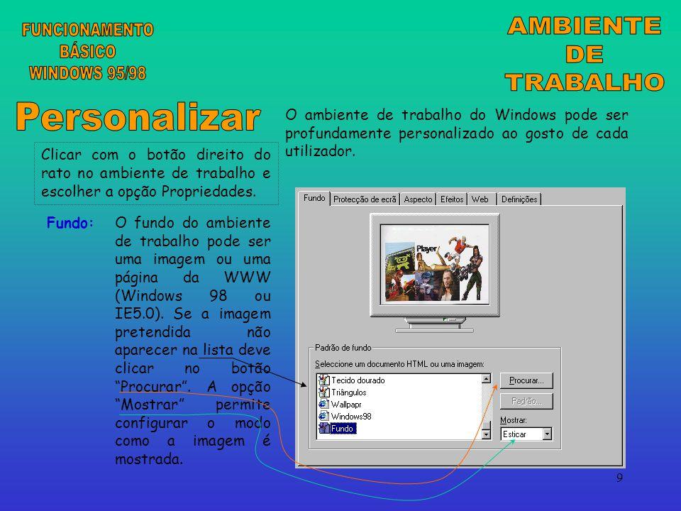 AMBIENTE FUNCIONAMENTO DE BÁSICO TRABALHO WINDOWS 95/98 Personalizar