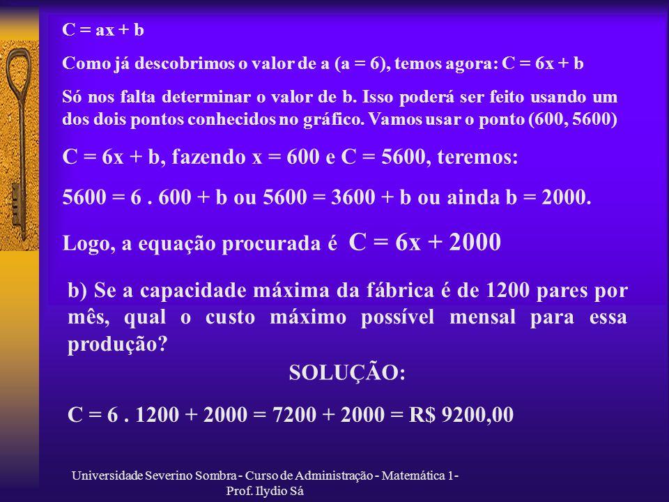 C = 6x + b, fazendo x = 600 e C = 5600, teremos: