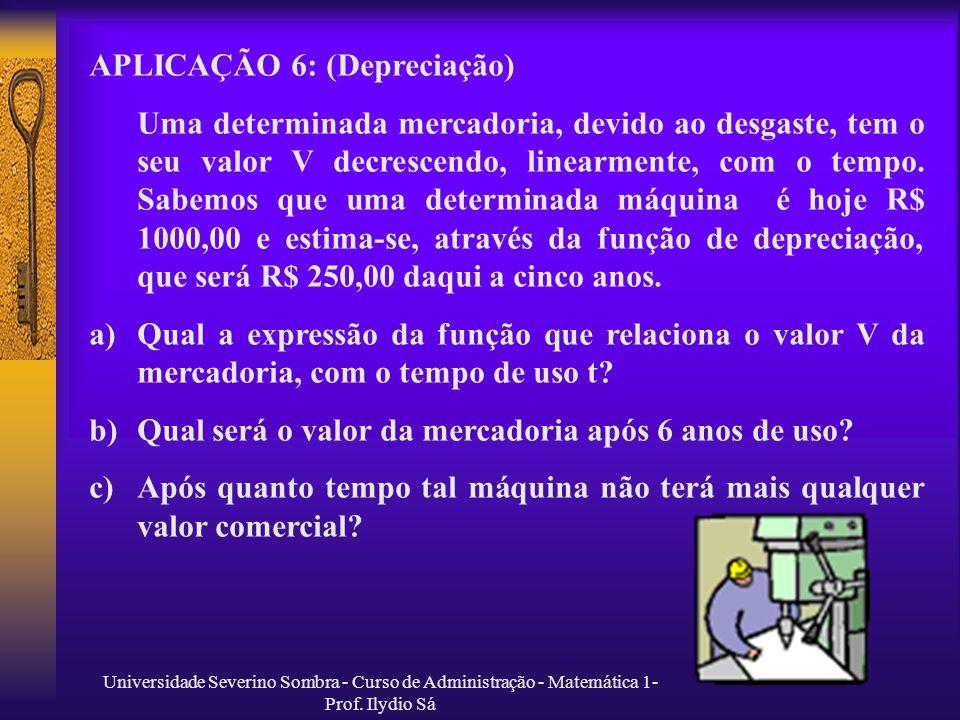 APLICAÇÃO 6: (Depreciação)