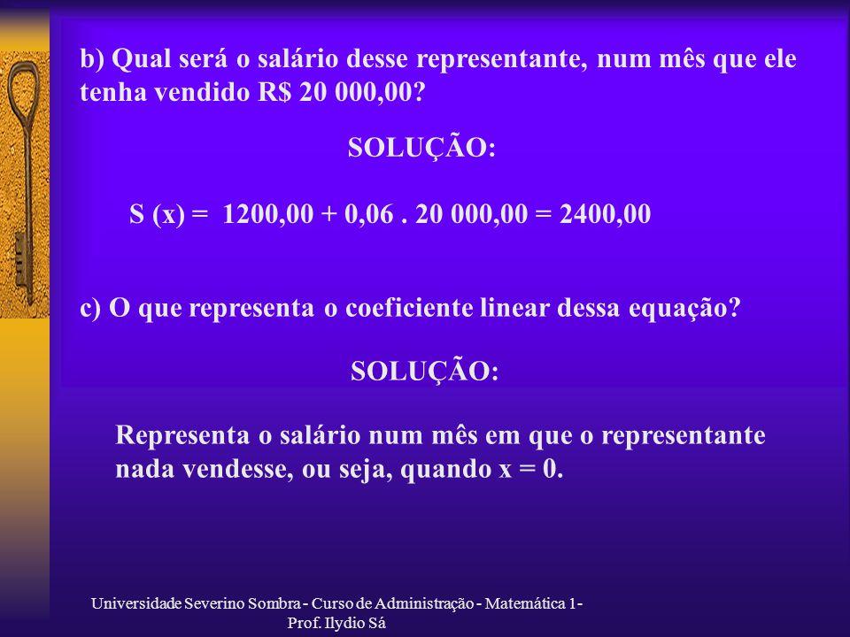 c) O que representa o coeficiente linear dessa equação