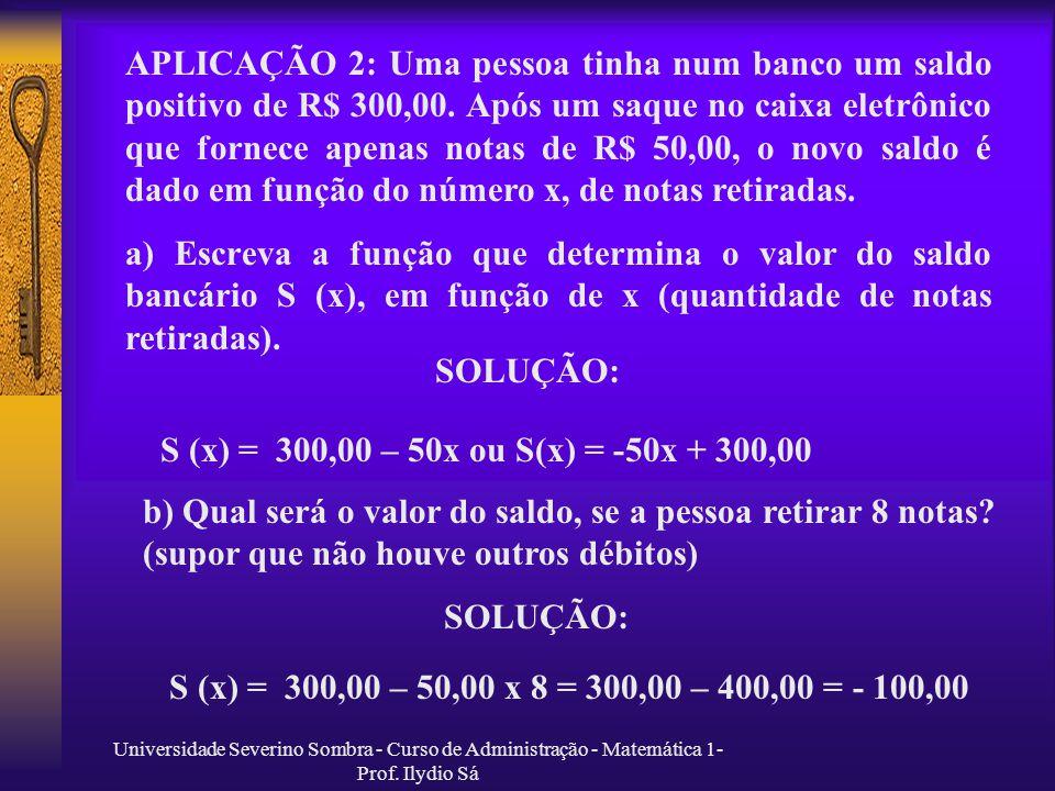 APLICAÇÃO 2: Uma pessoa tinha num banco um saldo positivo de R$ 300,00