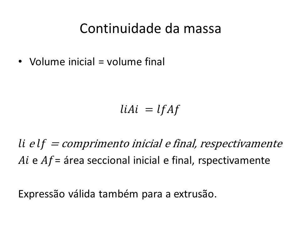 Continuidade da massa Volume inicial = volume final 𝑙𝑖𝐴𝑖 =𝑙𝑓𝐴𝑓