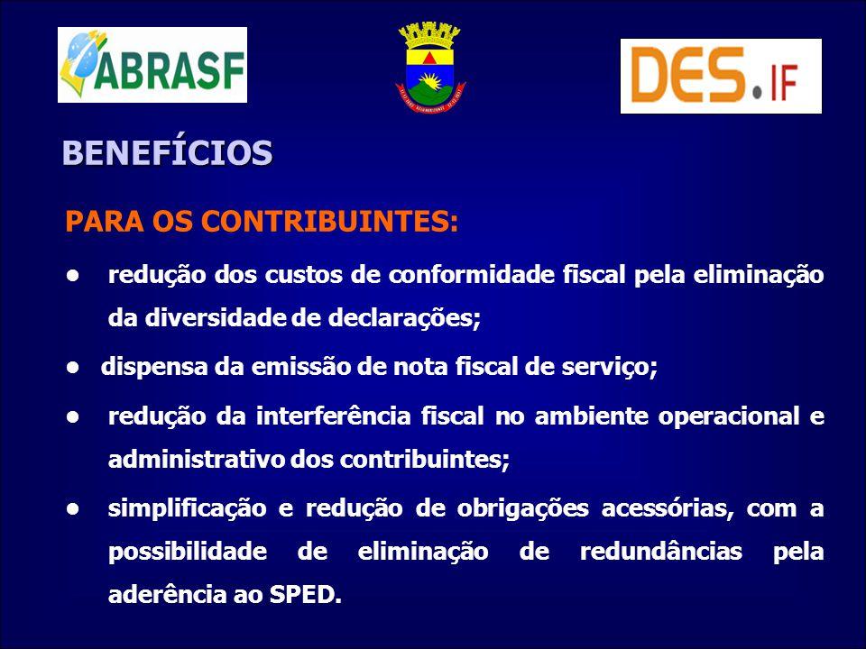 BENEFÍCIOS PARA OS CONTRIBUINTES: