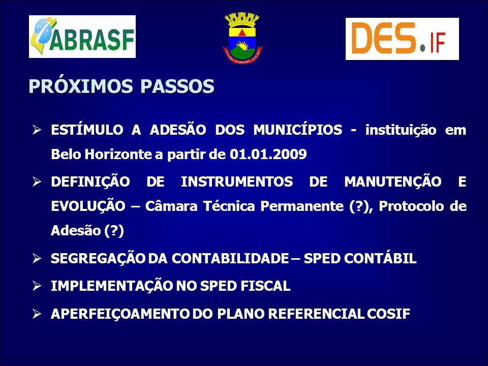 PRÓXIMOS PASSOS ESTÍMULO A ADESÃO DOS MUNICÍPIOS - instituição em Belo Horizonte a partir de 01.01.2009.