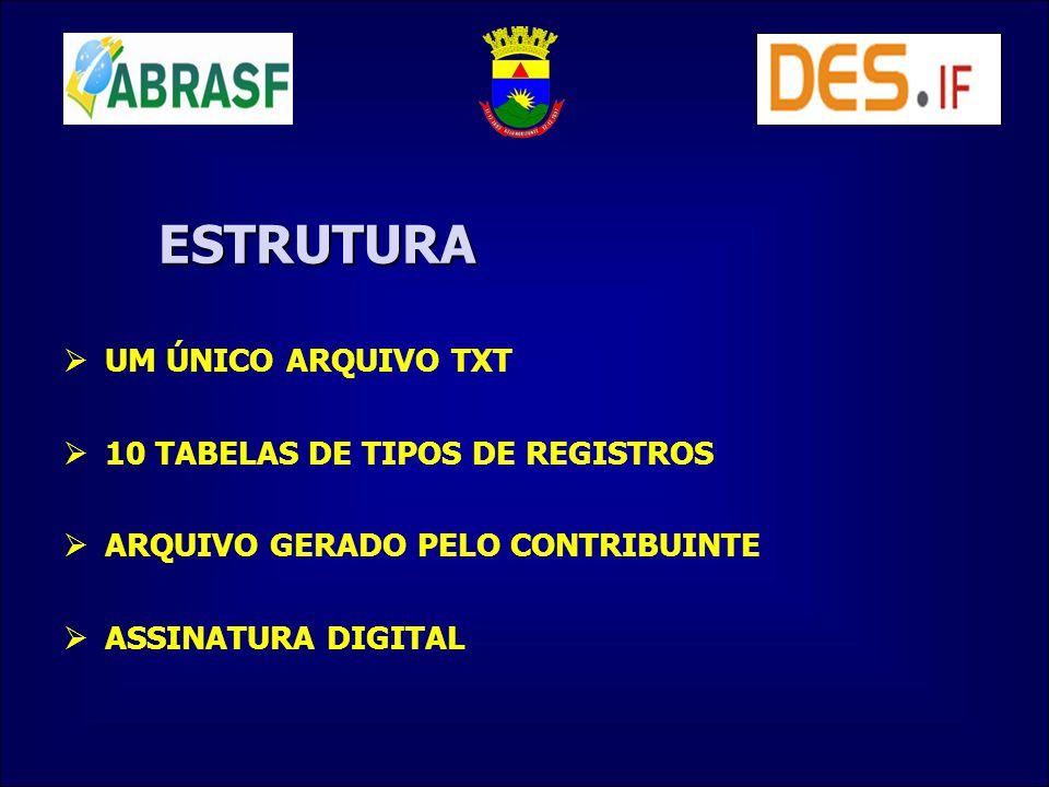 ESTRUTURA UM ÚNICO ARQUIVO TXT 10 TABELAS DE TIPOS DE REGISTROS