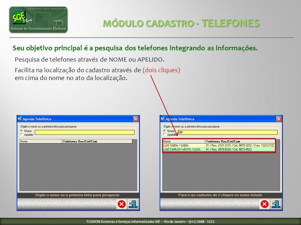 MÓDULO CADASTRO - TELEFONES