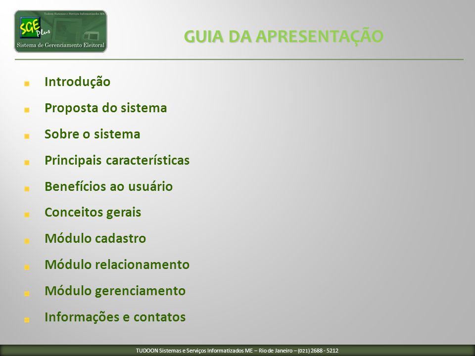 GUIA DA APRESENTAÇÃO Introdução Proposta do sistema Sobre o sistema