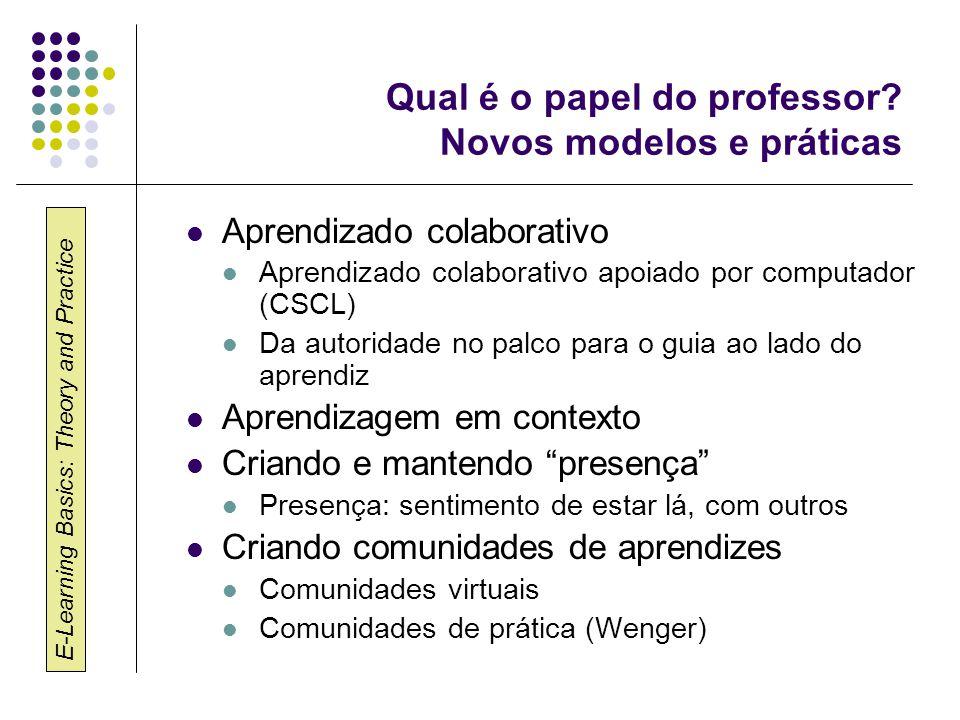 Qual é o papel do professor Novos modelos e práticas