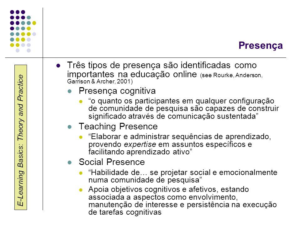 Presença Três tipos de presença são identificadas como importantes na educação online (see Rourke, Anderson, Garrison & Archer, 2001)