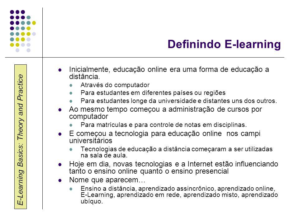 Definindo E-learning Inicialmente, educação online era uma forma de educação a distância. Através do computador.
