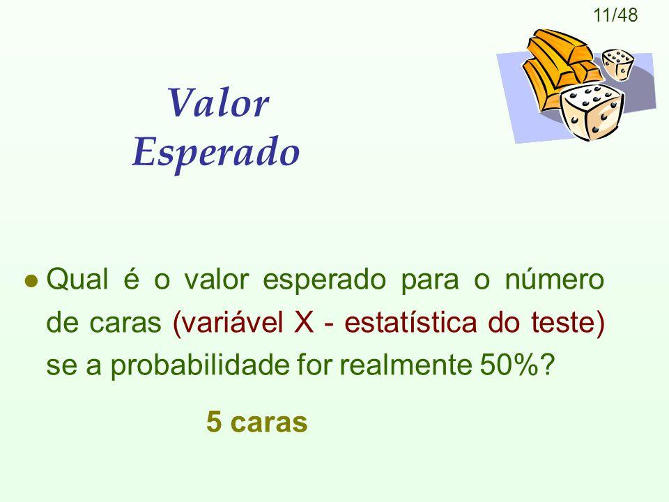 Valor Esperado Qual é o valor esperado para o número de caras (variável X - estatística do teste) se a probabilidade for realmente 50%
