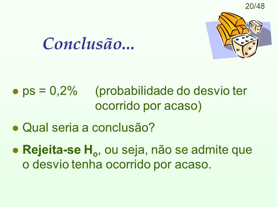 Conclusão... ps = 0,2% (probabilidade do desvio ter ocorrido por acaso) Qual seria a conclusão