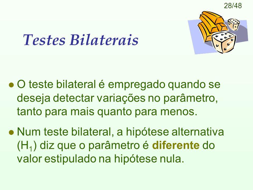 Testes Bilaterais O teste bilateral é empregado quando se deseja detectar variações no parâmetro, tanto para mais quanto para menos.