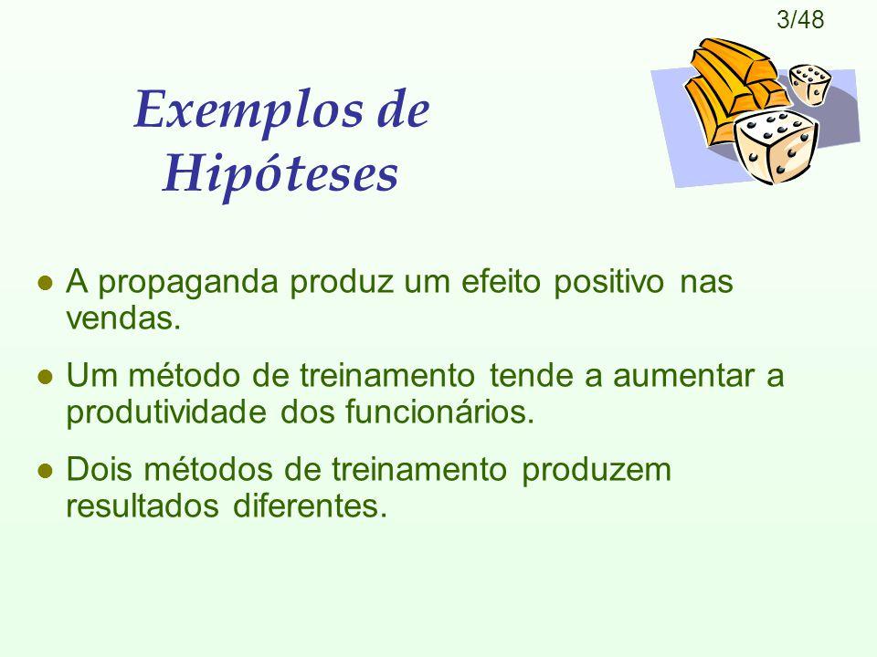 Exemplos de Hipóteses A propaganda produz um efeito positivo nas vendas. Um método de treinamento tende a aumentar a produtividade dos funcionários.