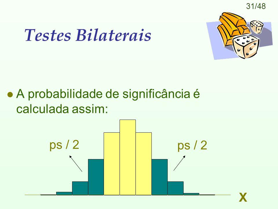 Testes Bilaterais A probabilidade de significância é calculada assim: