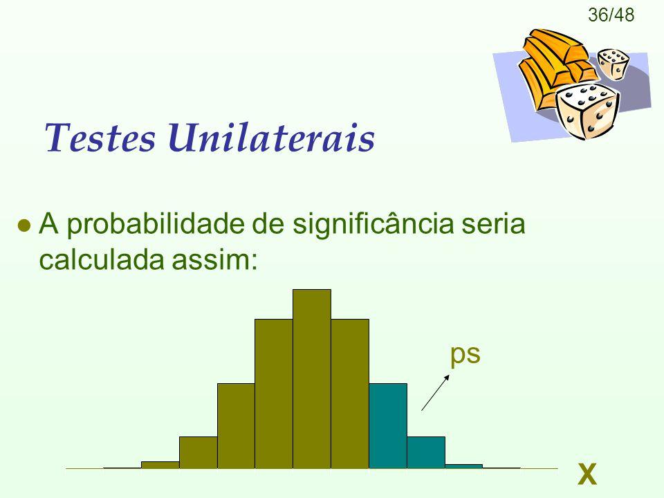Testes Unilaterais A probabilidade de significância seria calculada assim: ps X