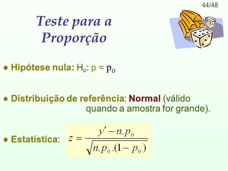 Teste para a Proporção Hipótese nula: Ho: p = po