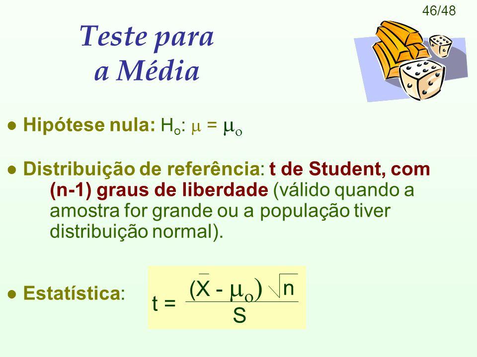 Teste para a Média (X -  n t = S Hipótese nula: Ho:  = 