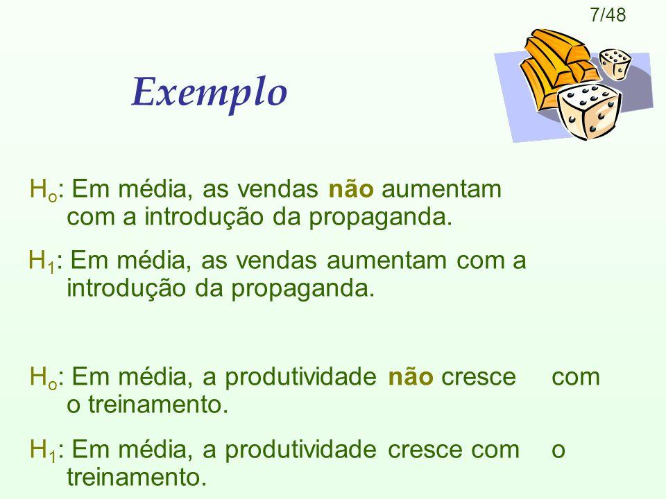 Exemplo Ho: Em média, as vendas não aumentam com a introdução da propaganda.