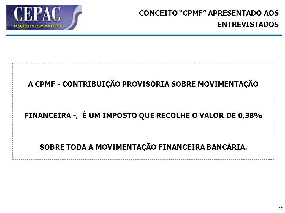 CONCEITO CPMF APRESENTADO AOS ENTREVISTADOS