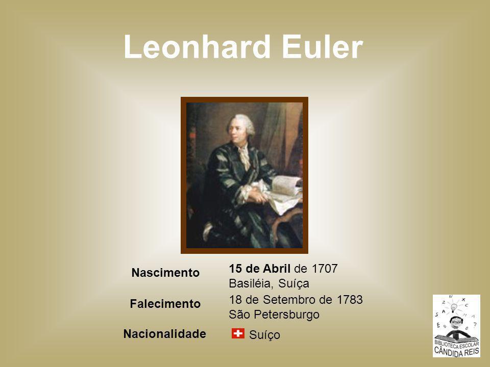 Leonhard Euler 15 de Abril de 1707 Basiléia, Suíça Nascimento