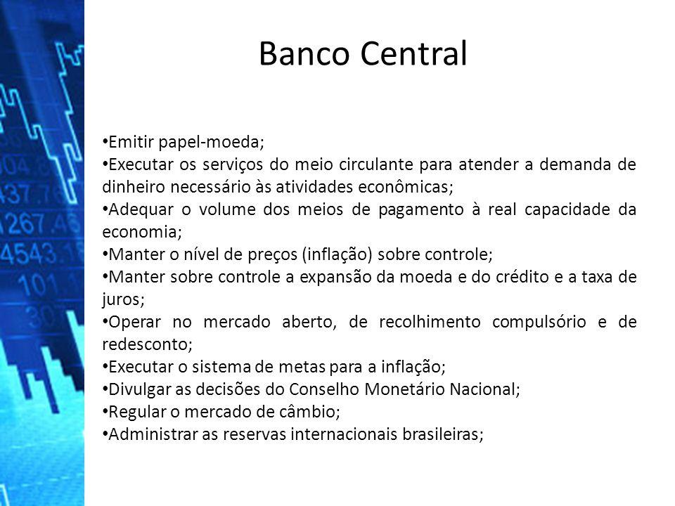 Banco Central Emitir papel-moeda;