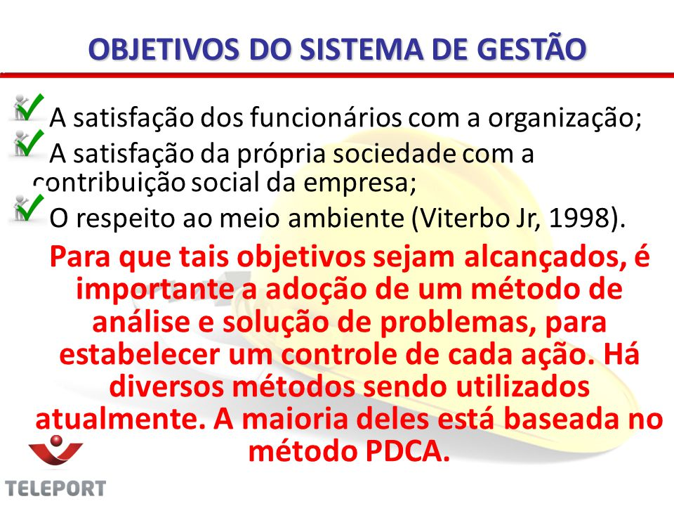OBJETIVOS DO SISTEMA DE GESTÃO