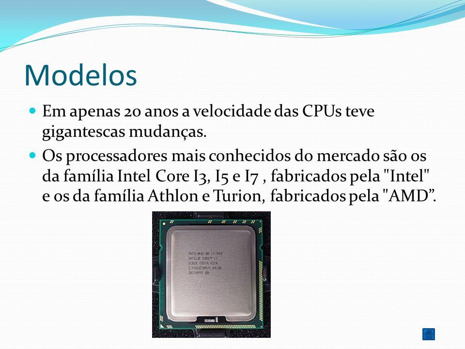 Modelos Em apenas 20 anos a velocidade das CPUs teve gigantescas mudanças.