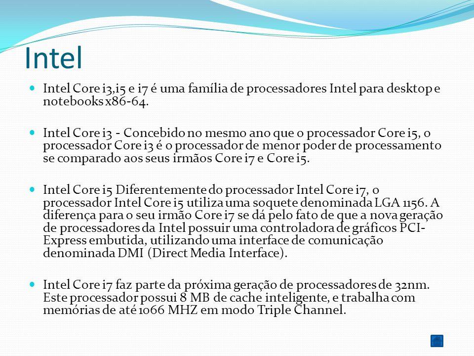Intel Intel Core i3,i5 e i7 é uma família de processadores Intel para desktop e notebooks x86-64.