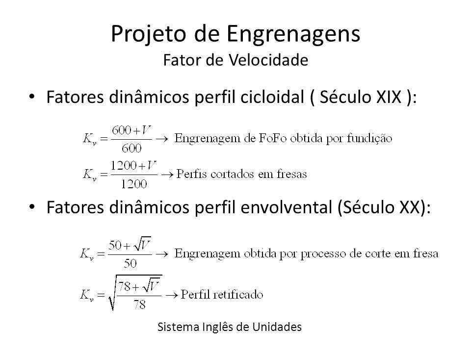 Projeto de Engrenagens Fator de Velocidade