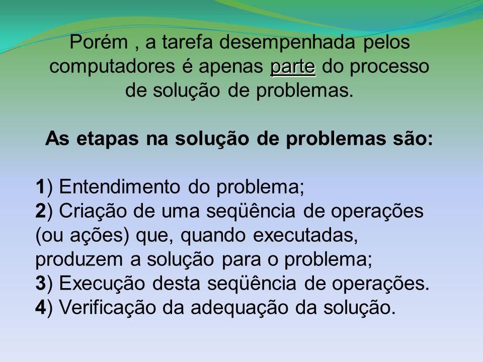 As etapas na solução de problemas são: