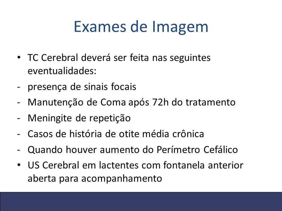 Exames de Imagem TC Cerebral deverá ser feita nas seguintes eventualidades: presença de sinais focais.