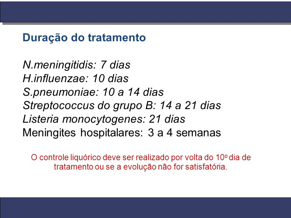 Streptococcus do grupo B: 14 a 21 dias Listeria monocytogenes: 21 dias